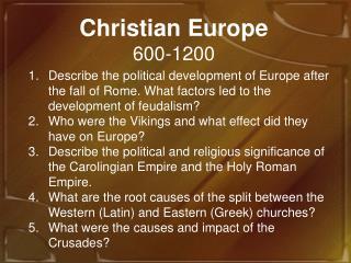 Christian Europe 600-1200