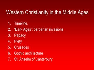 Western Christianity in the Middle Ages