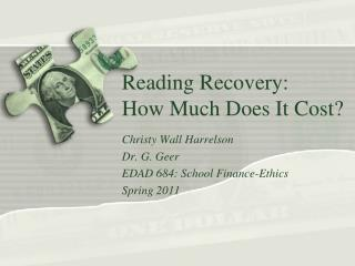 Reading Recovery: How Much Does It Cost?