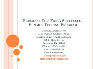 Personal Tips For A Successful  Summer Feeding Program
