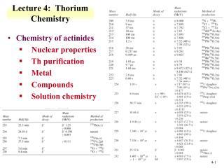 Lecture 4:  Thorium Chemistry