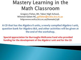 Mastery Learning in the Math Classroom