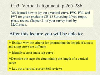 Ch3: Vertical alignment, p.265-286