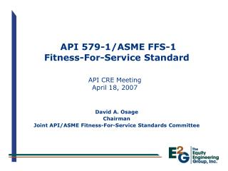 API 579-1/ASME FFS-1 Fitness-For-Service Standard