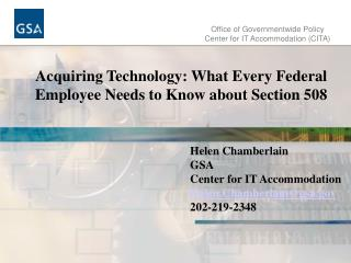 Office of Governmentwide Policy Center for IT Accommodation (CITA)
