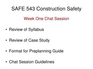 SAFE 543 Construction Safety