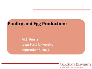 Poultry and Egg Production: