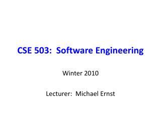 CSE 503:  Software Engineering