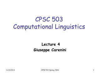 CPSC 503 Computational Linguistics