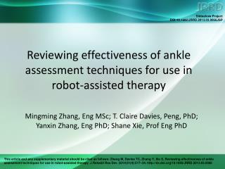 Reviewing effectiveness of ankle assessment techniques for use in robot-assisted therapy
