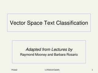 Vector Space Text Classification