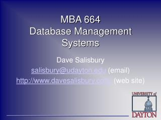 MBA 664 Database Management Systems