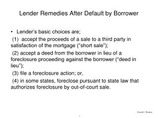 Lender Remedies After Default by Borrower