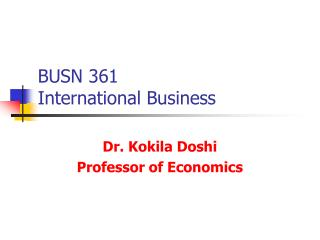 BUSN 361 International Business