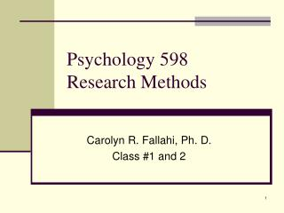 Psychology 598  Research Methods