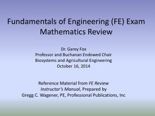 Fundamentals of Engineering (FE) Exam  Mathematics Review