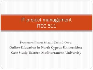 IT project management  ITEC 511