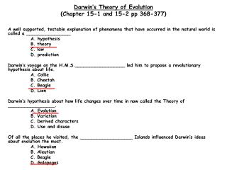 Darwin�s Theory of Evolution (Chapter 15-1 and 15-2 pp 368-377)