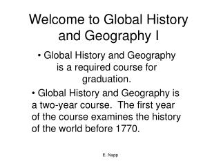 Welcome to Global History and Geography I