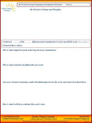 My Weekly Personal Commitment Evaluation Worksheet     Week of:  __________________
