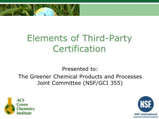 Elements of Third-Party Certification