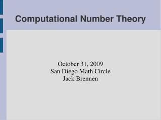 Computational Number Theory