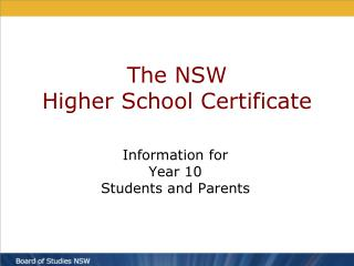 The NSW Higher School Certificate