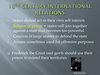 18 TH  CENTURY INTERNATIONAL RELATIONS
