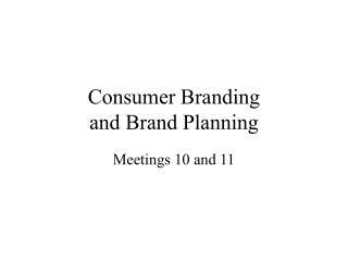 Consumer Branding and Brand Planning