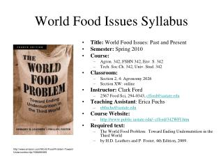 World Food Issues Syllabus