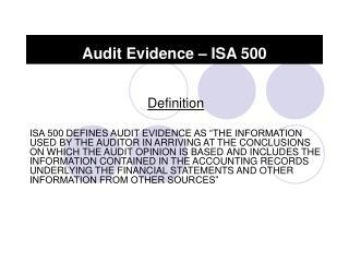 Audit Evidence – ISA 500