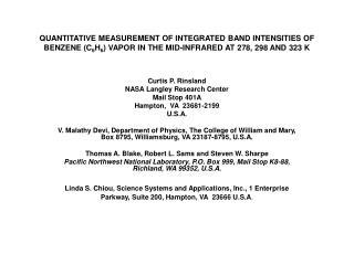 Curtis P. Rinsland NASA Langley Research Center Mail Stop 401A Hampton,  VA  23681-2199 U.S.A.