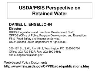 USDA/FSIS Perspective on Retained Water