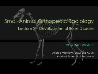 Small Animal Orthopedic Radiology  Lecture 2   Developmental Bone Disease
