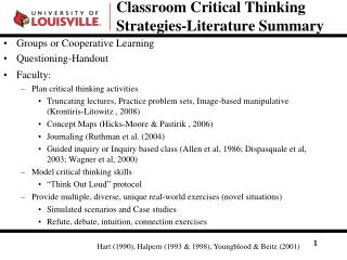 Classroom Critical Thinking Strategies-Literature Summary