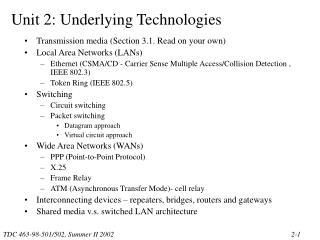 Unit 2: Underlying Technologies