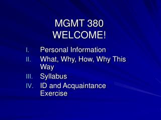 MGMT 380 WELCOME!