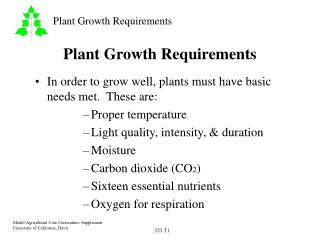Plant Growth Requirements