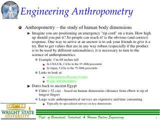 Engineering Anthropometry