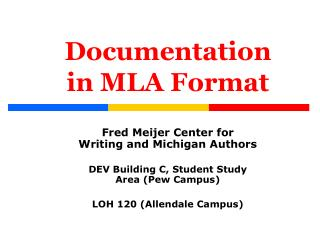 Documentation in MLA Format