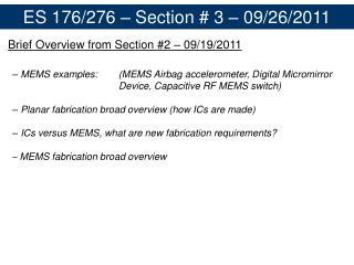 ES 176/276 – Section # 3 – 09/26/2011
