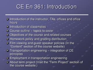 CE En 361: Introduction