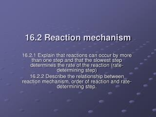 16.2 Reaction mechanism