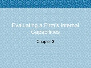 Evaluating a Firm�s Internal Capabilities