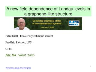 A new field dependence of Landau levels in a graphene-like structure