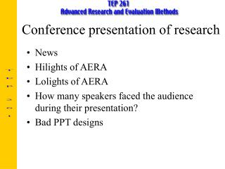 Conference presentation of research