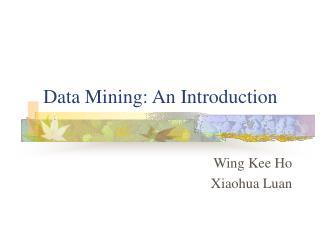 Data Mining: An Introduction