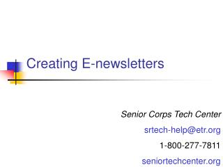 Creating E-newsletters