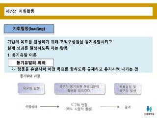 제 7 강  지휘활동