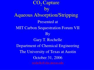 CO 2  Capture  by Aqueous Absorption/Stripping